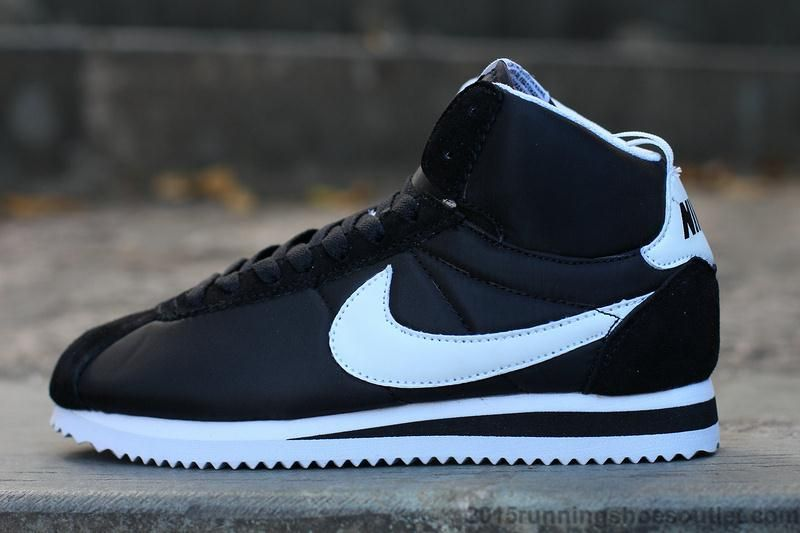 Discounted Nike Adidas Puma Air Jordan Shoes Online Store Hot Sale 2016  Latest Nike Classic Cortez High Tops Mens Womens Sneakers Black White On  Sale -