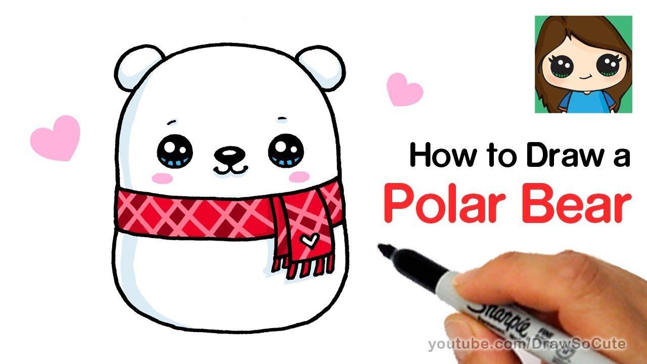 How To Draw A Holiday Polar Bear Easy Squishmallows Youtube Polar Bear Drawing Polar Bears For Kids Cute Polar Bear