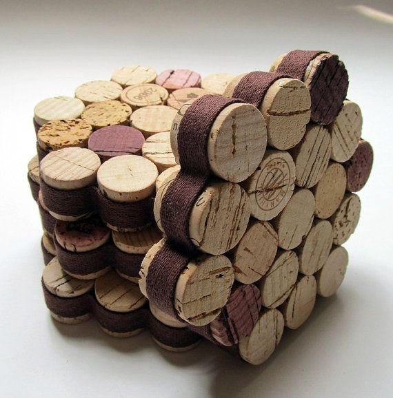 honeycomb wine cork coaster with brown ribbon set of four housewarming wedding hostess gift. Black Bedroom Furniture Sets. Home Design Ideas