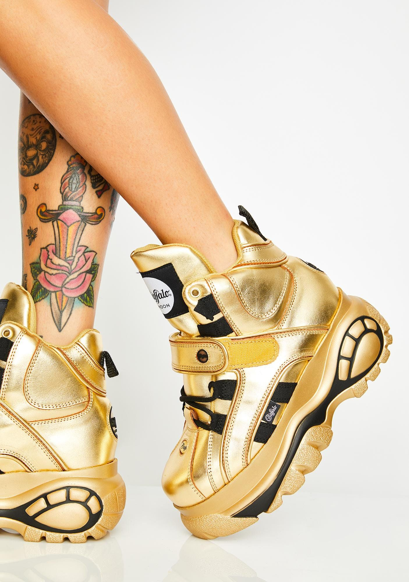 Gold Classic High Nappa Leather Sneakers | Leather sneakers
