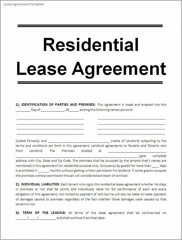 Free Printable Rental Agreements template Pinterest Free - Residential Rental Agreement