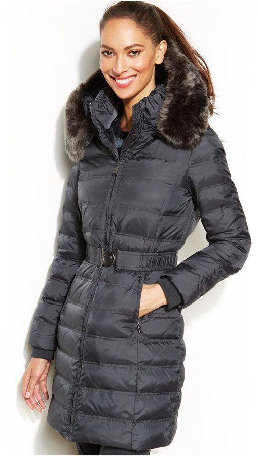 Dkny Hooded Faux Fur Trim Belted Down Puffer Coat Let S