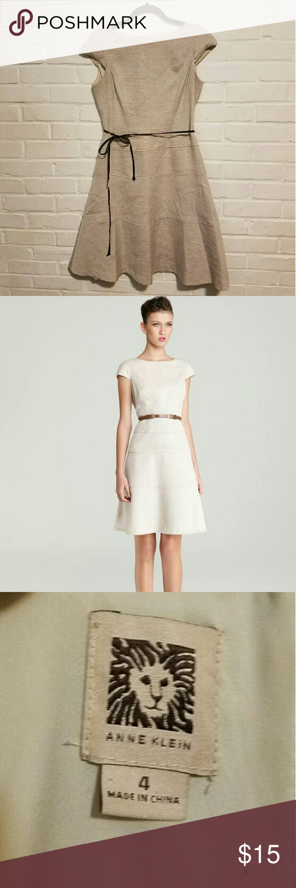 ⬇⬇Anne KleinDress w/Belt Anne Klein Linen Dress with Brown Belt Anne Klein Dresses Midi