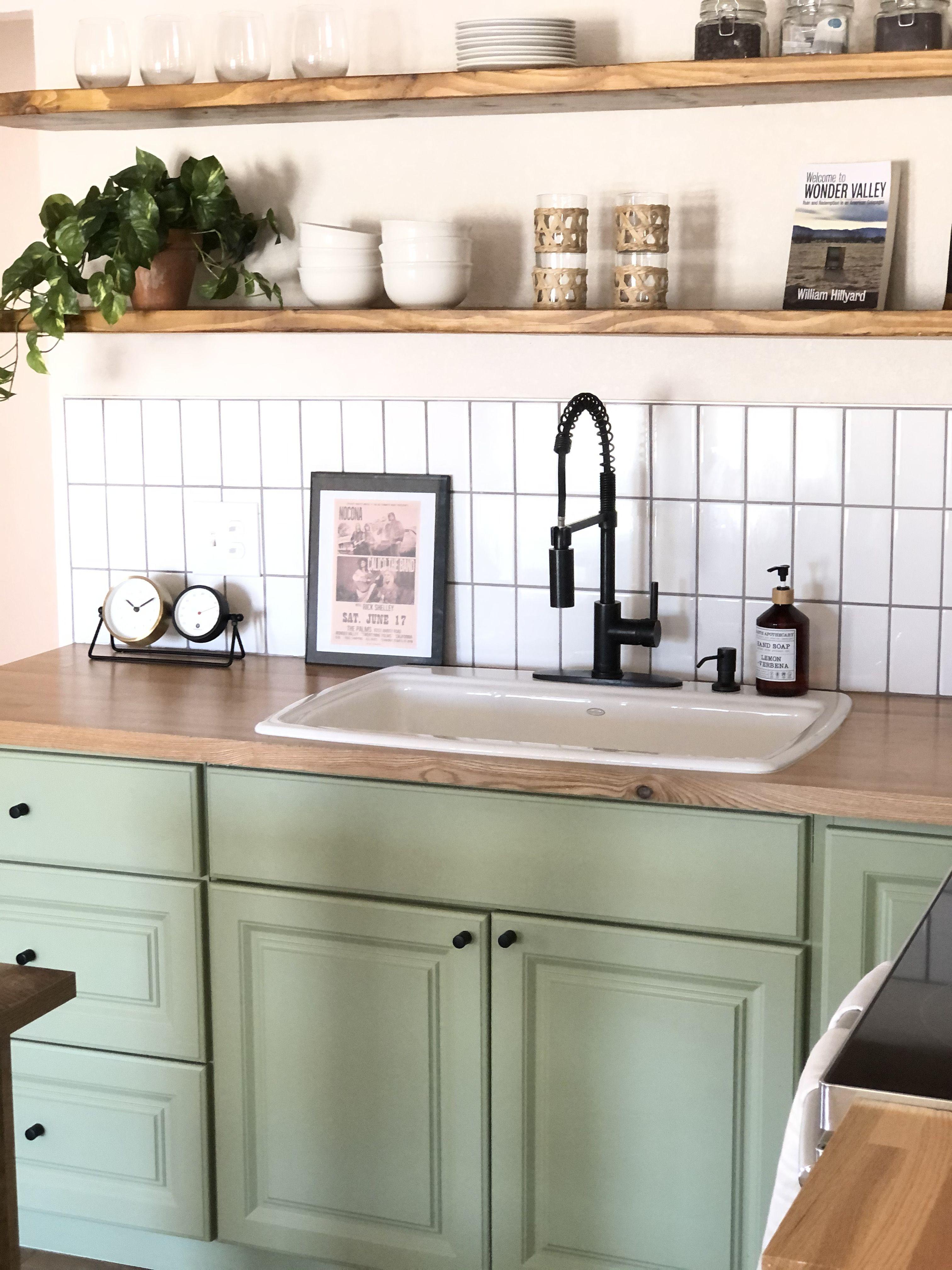 Butcher Block Counters W Open Shelving Green Cabinets Green Kitchen Cabinets Small Kitchen Cabinets Wood Countertops Kitchen