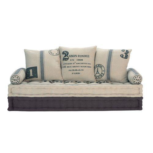 3 seater cotton sofa bench in beige and grey | Bancos, Despacho y ...