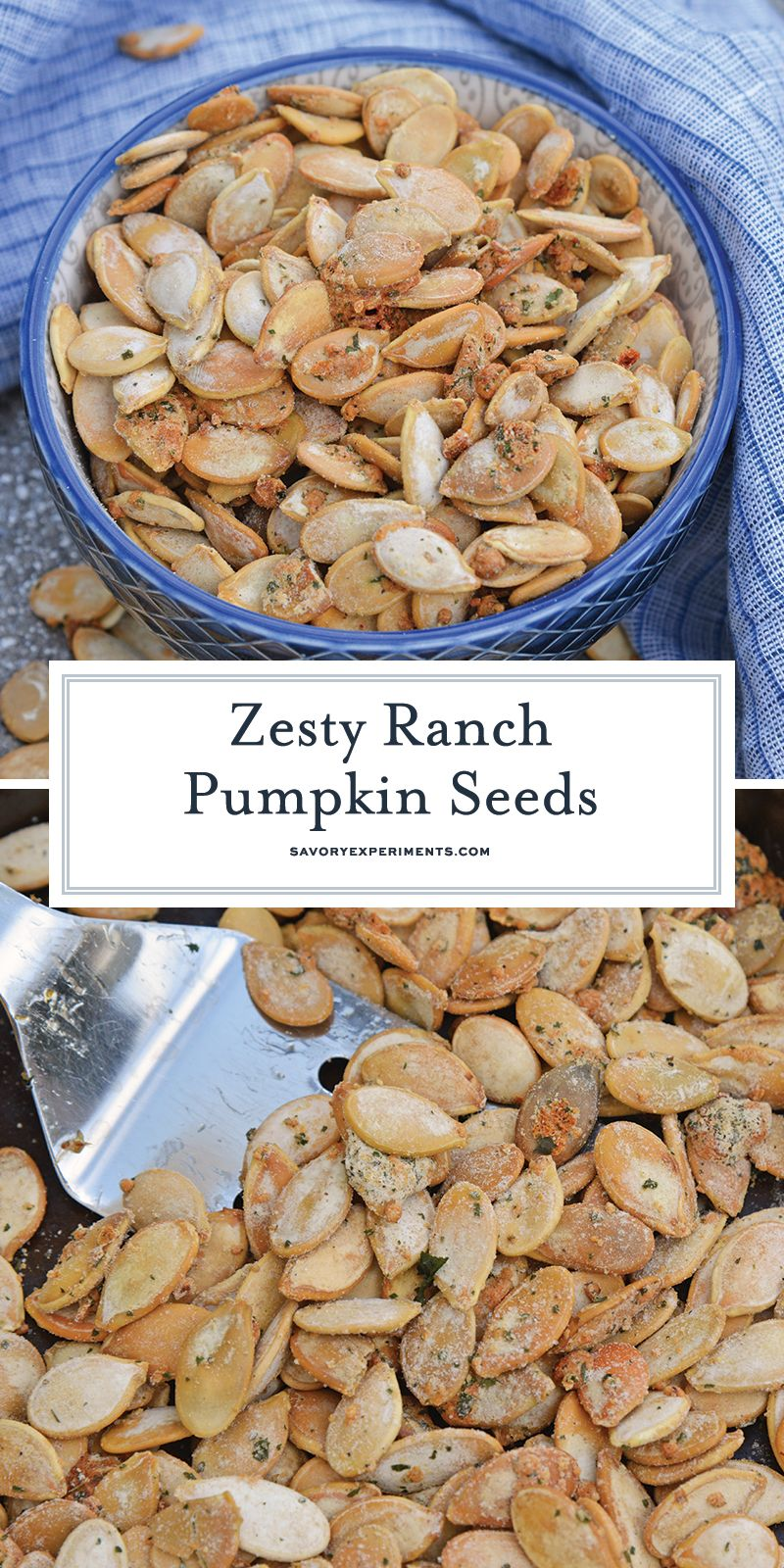 Ranch Pumpkin Seeds take roasted pumpkin seeds to a whole new level. With only 3 ingredients, they're an easy and delicious fall snack! #roastedpumpkinseeds #ranchpumpkinseeds www.savoryexperiments.com #pumpkinseedsrecipe