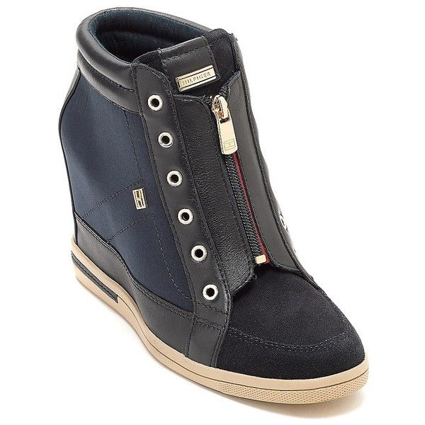 fe3b2c92b52f4 Tommy Hilfiger Nyc Sneaker Wedge ( 150) ❤ liked on Polyvore featuring shoes