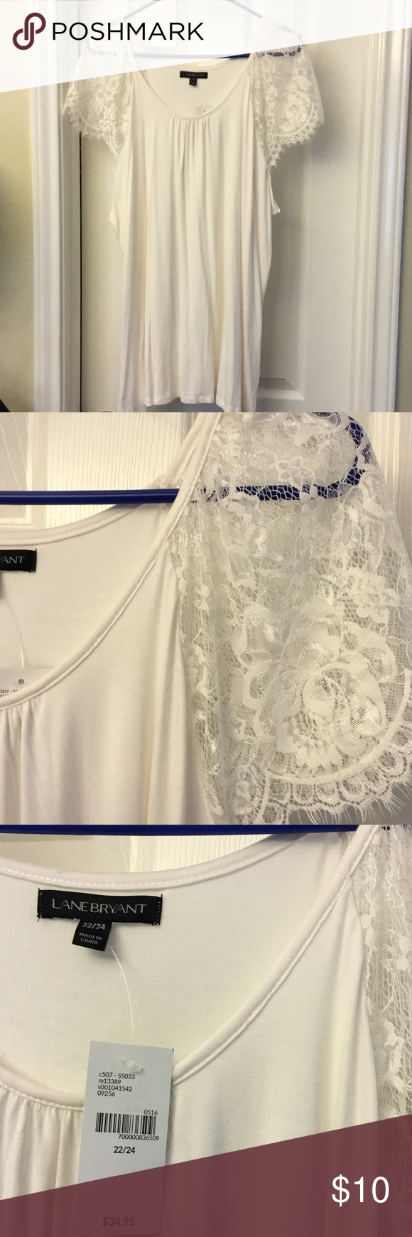 Top White lace sleeves, 97% rayon 3% spandex, size 22/24 Lane Bryant Tops Blouses