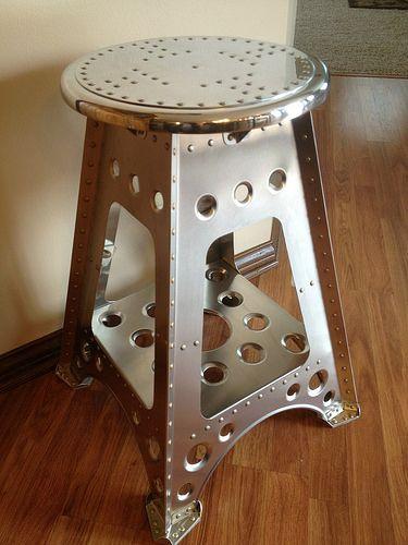 Aviation Stool By Retro Aero Riveting Industrial Style