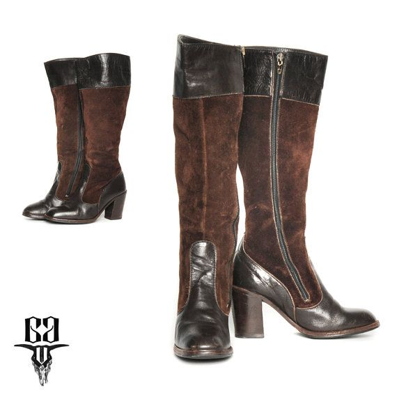 64b00a85e16c 70s Brown Suede Boots Leather Patchwork   Chunky Stacked Heel Suede and  Leather   Size 7 8