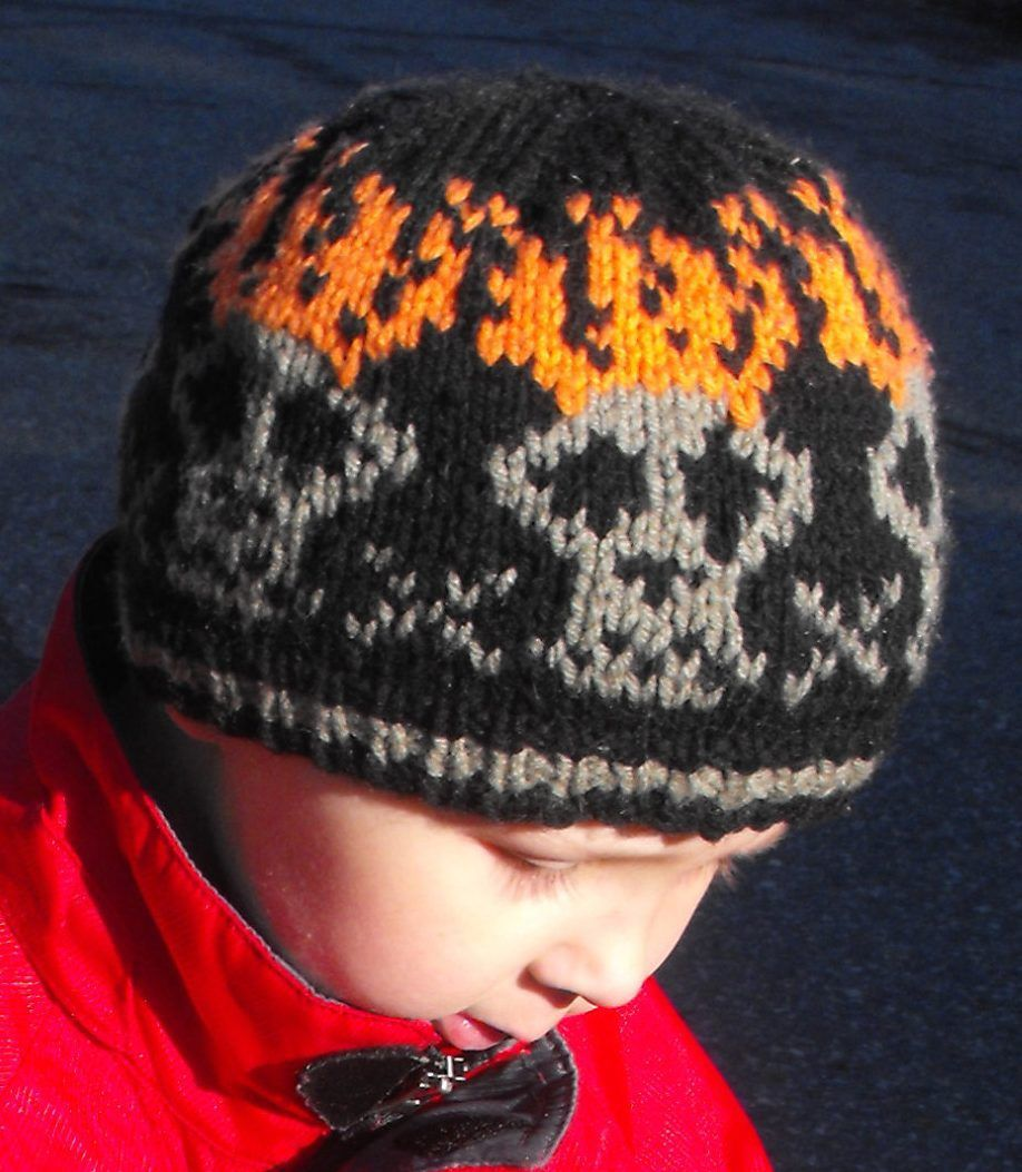 Knitting pattern for tGhost Rider Beanie - Hat with flaming skulls ...