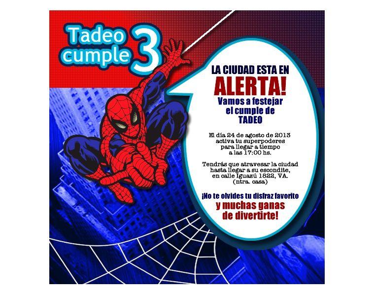 Invitación Del Hombre Araña Para Cumple De Tadeo Diseñada