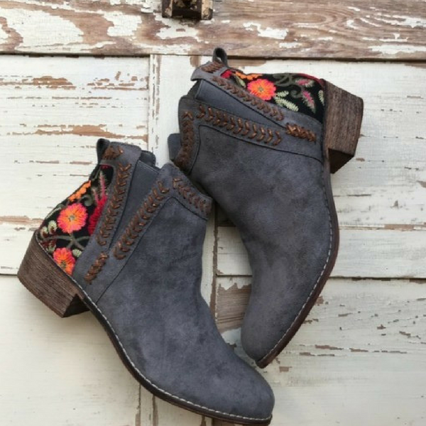 Top Pick Beautiful Low Heel Bootie with Floral Embroidered Detail #booties