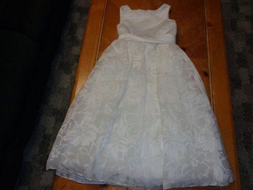 9e3ceac7c5b NWT DAVIDS BRIDAL IVORY TEA LENGTH FLOWER GIRL DRESS SZ 8 H1203 PRETTY!