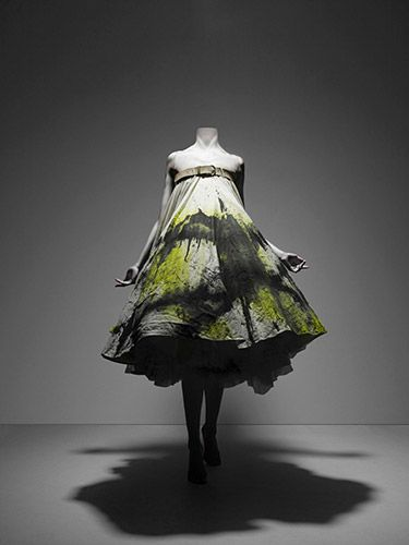 Dress, No.13, spring/summer 1999 by Alexander McQueen: White cotton muslin spray-painted black and yellow with underskirt of white synthetic tulle. #Dress #Alexander_McQueen