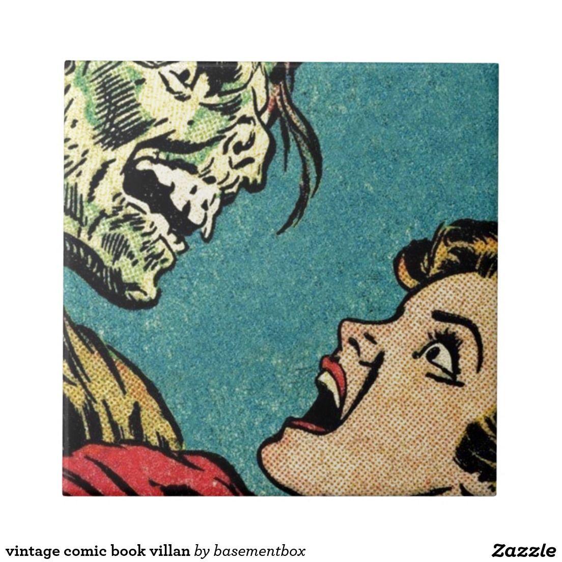 Vintage Comic Book Villan Tile Creepy
