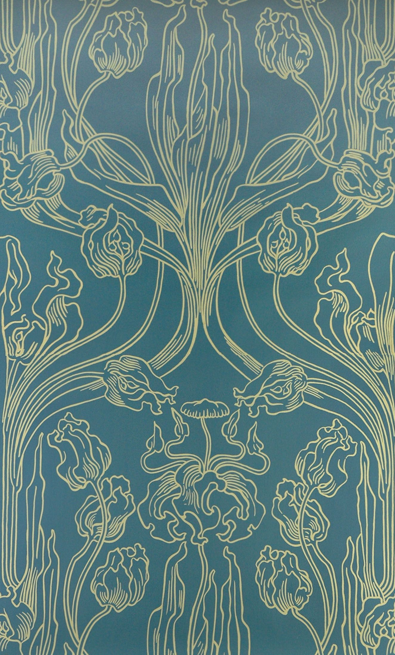 historische tapeten tulip motif in yellow and blue joseph maria olbrich cal 1900 patterns. Black Bedroom Furniture Sets. Home Design Ideas
