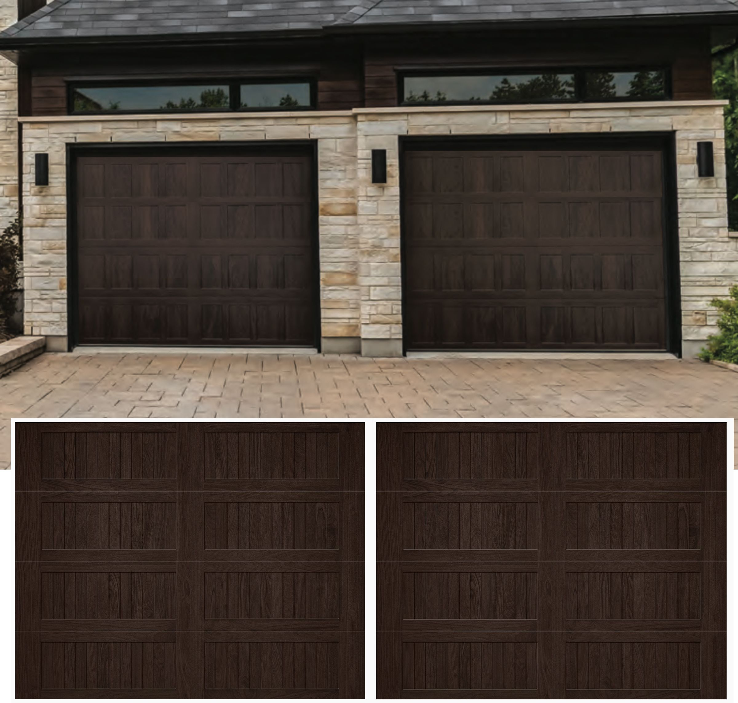 Chi Garage Door Accents Wood Tones Stamped Carriage House Long Bottom Web Sample Image Of Door S Garage Doors Chi Garage Doors Carriage House Garage Doors