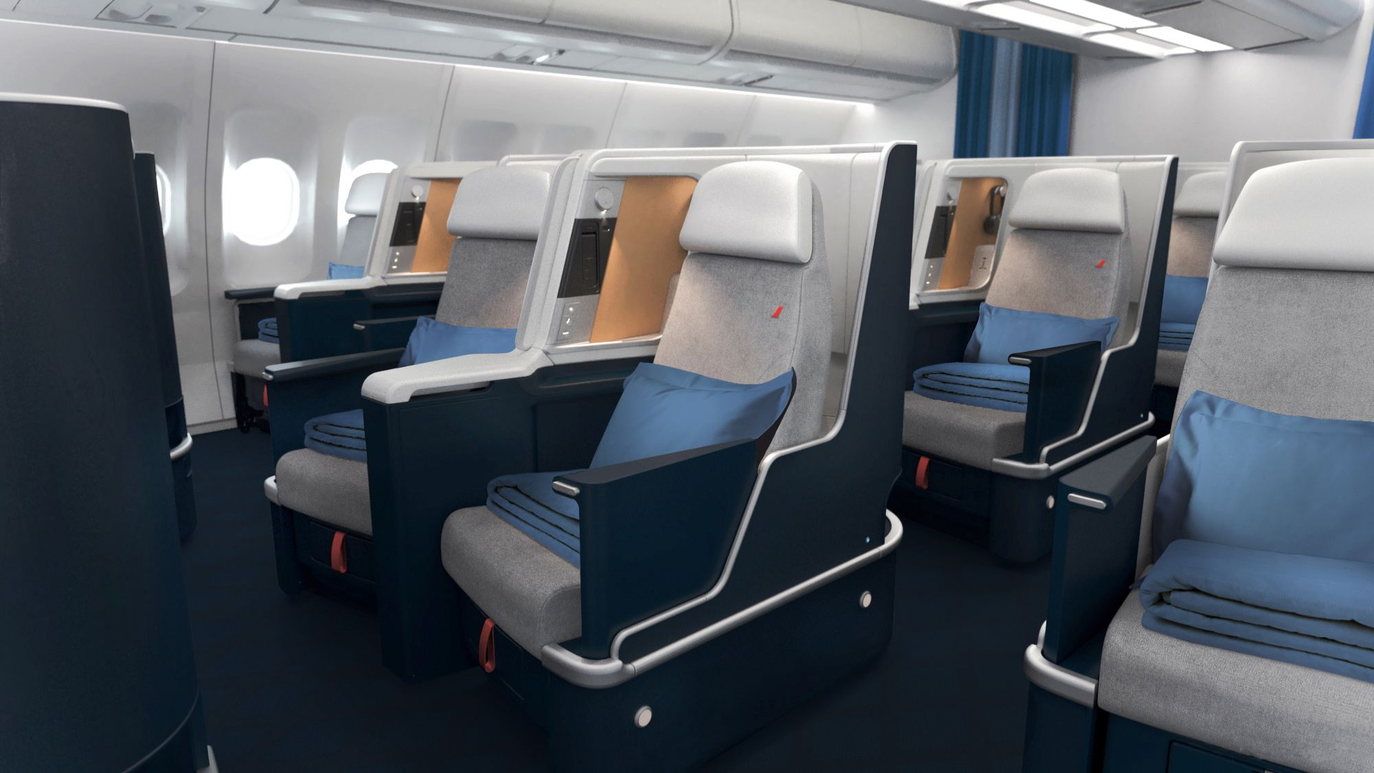 Nouveau design cabine Air France business classe sur