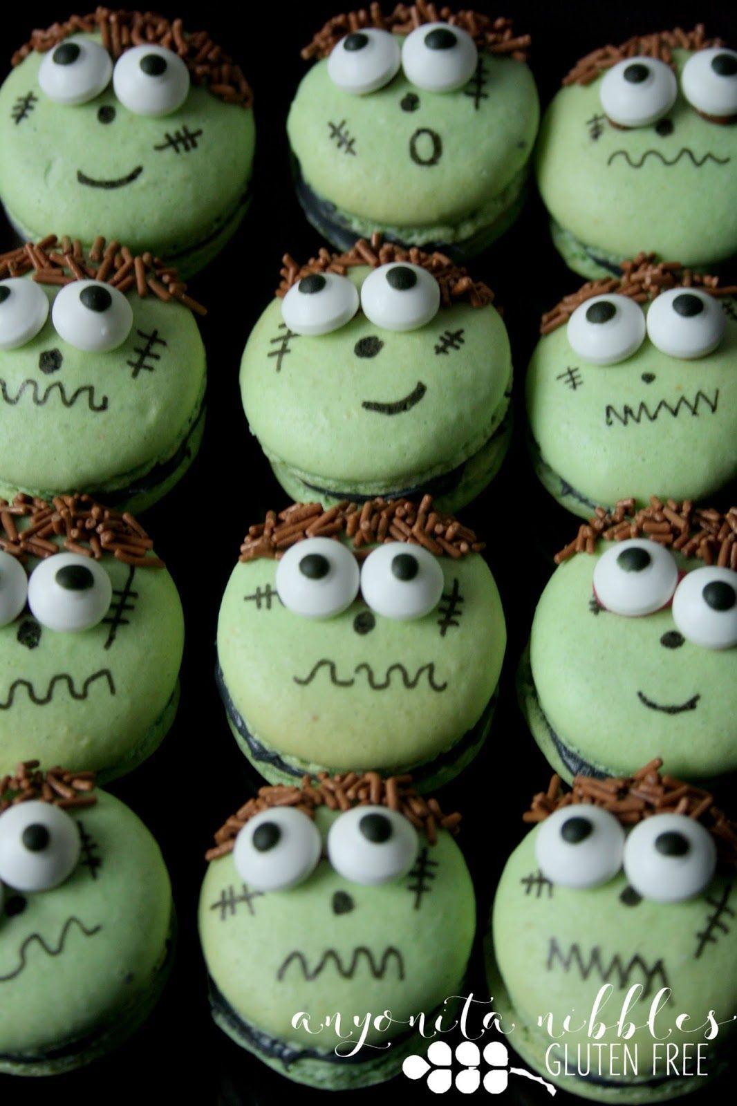 Gluten Free Frankenstein Macarons #halloweenmacarons A dozen gluten free Frankenstein Halloween Macarons | Anyonita Nibbles #halloweenmacarons