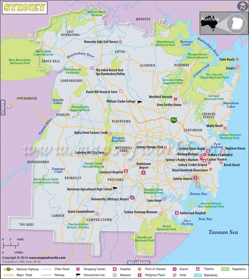 Map of sydney australia beautiful maps pinterest sydney map of sydney australia publicscrutiny Gallery