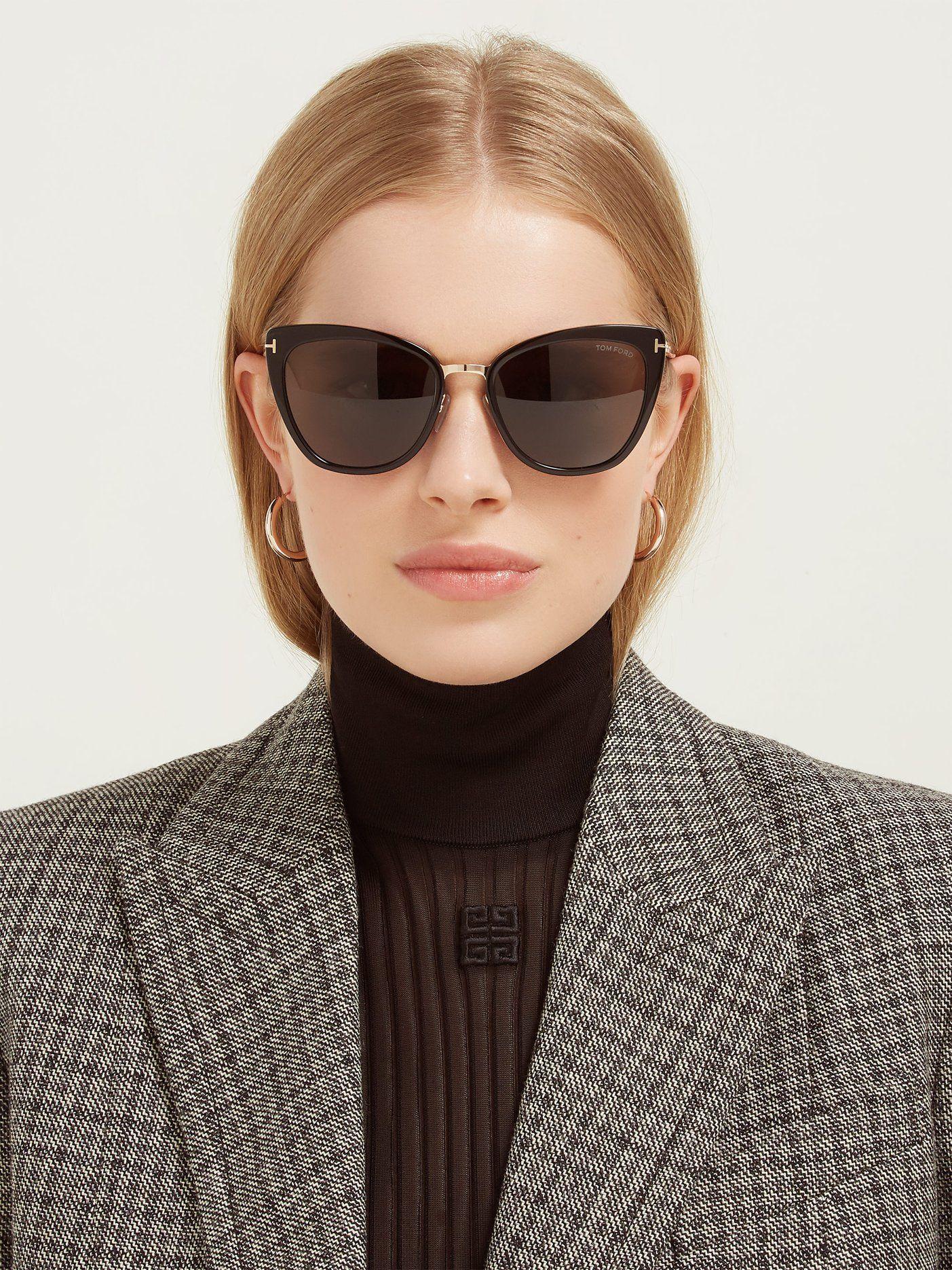 Black Small Thin Narrow Slim Petite Skinny Sunglasses Cat Eye Celeb Style Trend