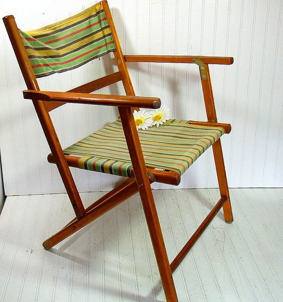 Vintage Wood And Canvas Folding Beach Chair   Retro Telescope Furniture  OutDoor Lawn Seating   Shabby BoHo Chic Cottage Portable Camp Chair