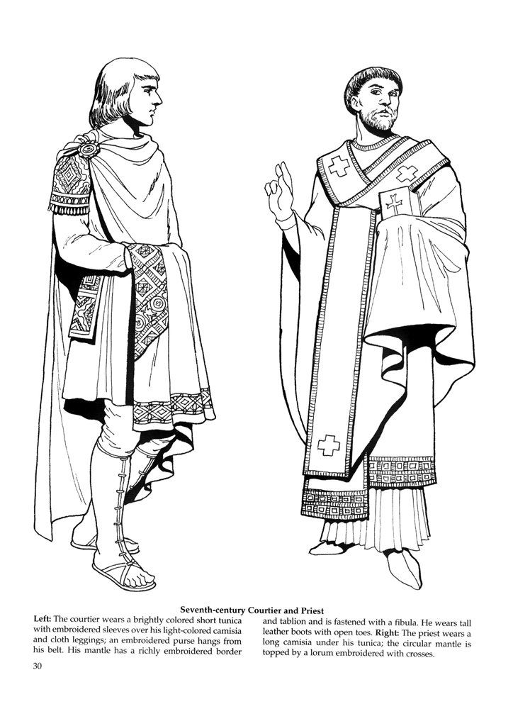 ancient greek clothing coloring pages | Byzantine Fashions 26 / Byzantine Fashions / Kids ...