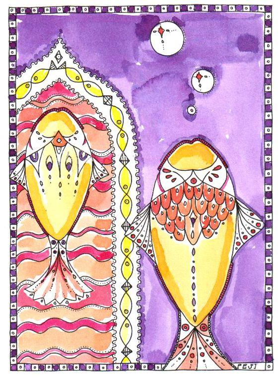"Pen and watercolor  ""Fish"""