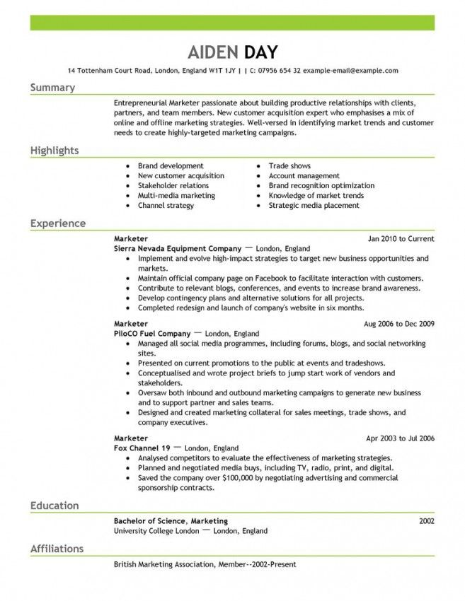 Marketing Resume Example Marketingresumetemplate 657×850  Jobs  Pinterest