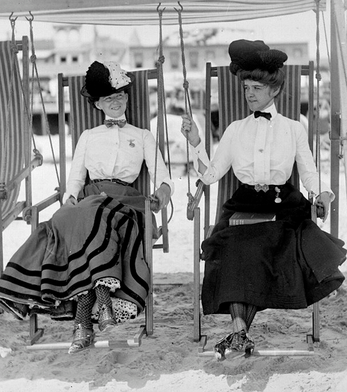 Vintage Pinup Girl Wearing Bathing Suit At The Ocean Stock: Atlantic City Beach [1905]. These Edwardian Ladies Must