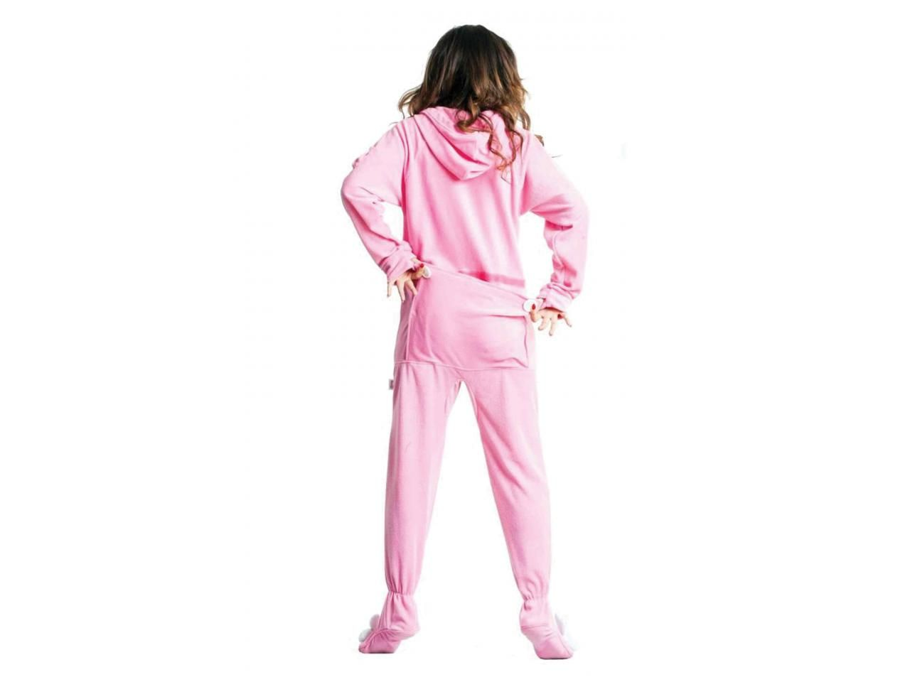 9300cd1508 Pink Bunnylicious Drop Seat Adult onesie Pajamas