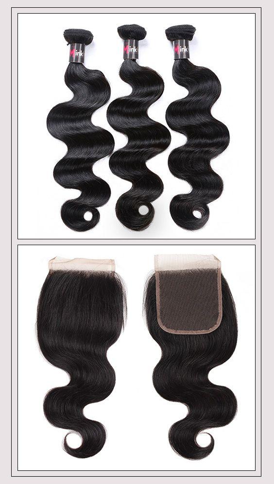 Mink Body Wave Malaysian Virgin Human Hair 3 Bundles With Lace