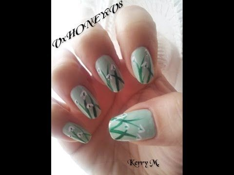january birthday nails snowdrop flowers nail art series