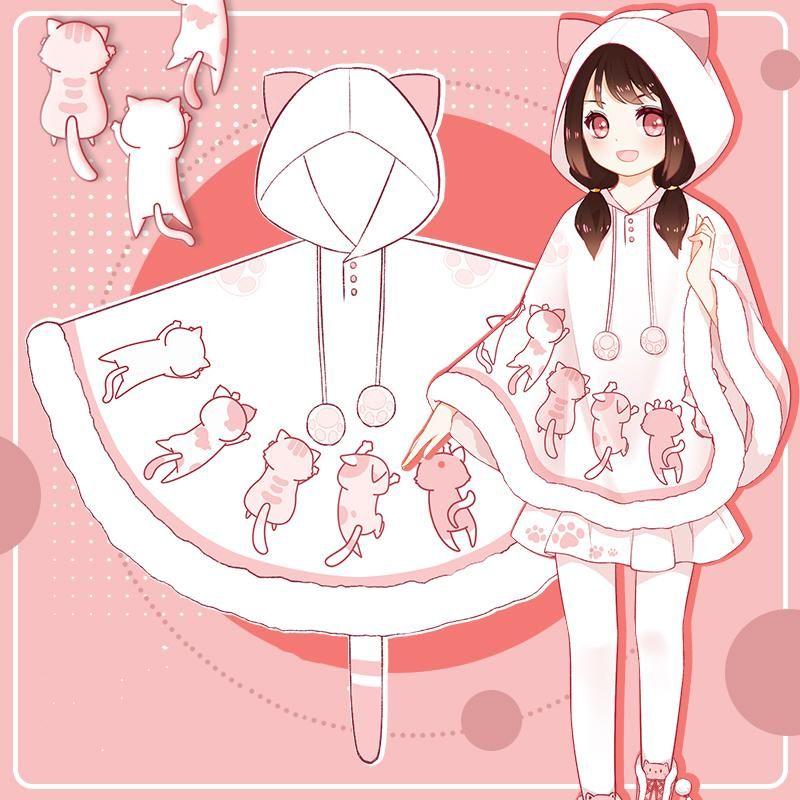 Cute kawaii cat cloak coat se20066 in 2020 kawaii cat