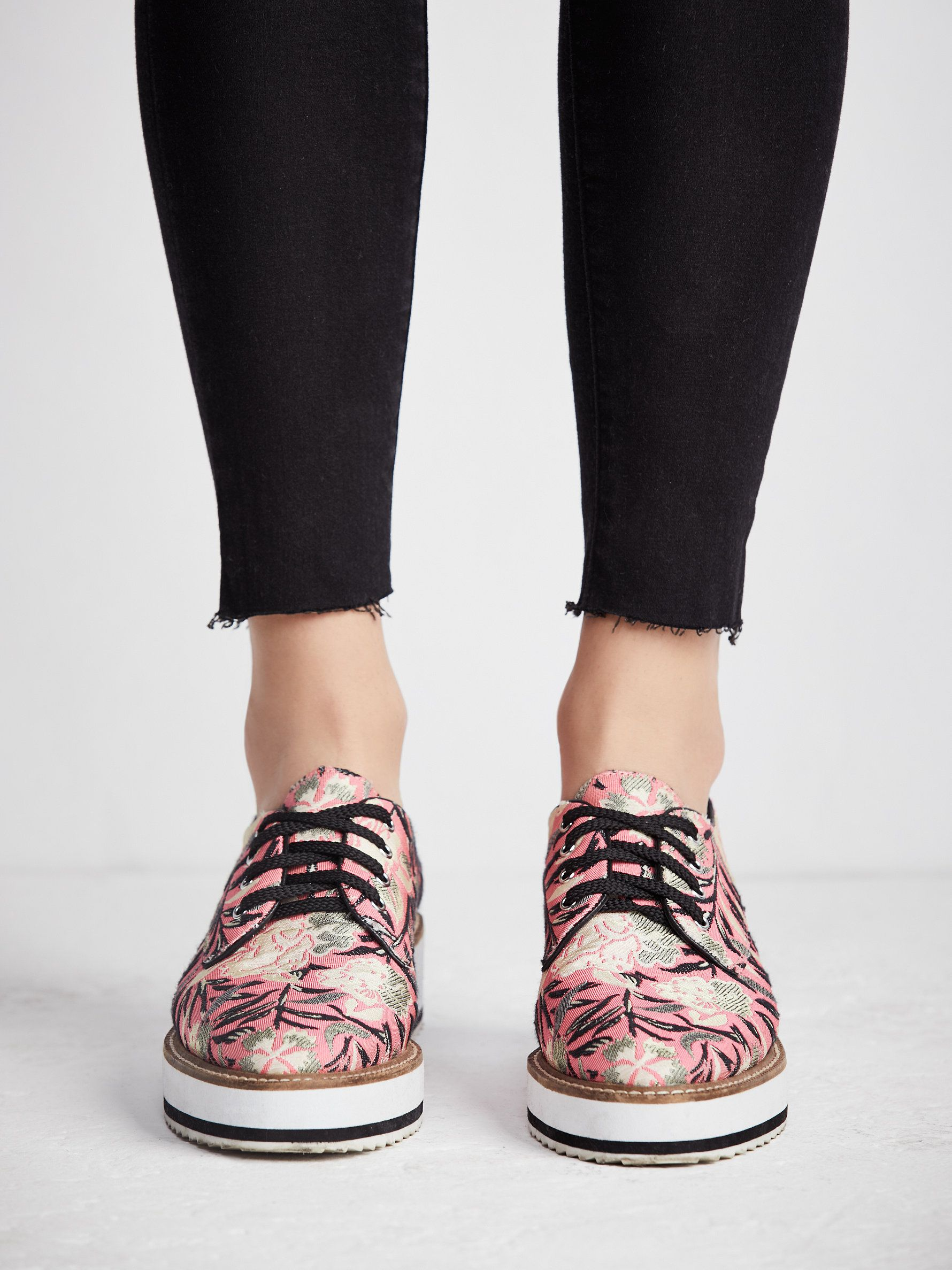 We love florals! Check out our floral platform loafers at Free People! Shop Shellys London!
