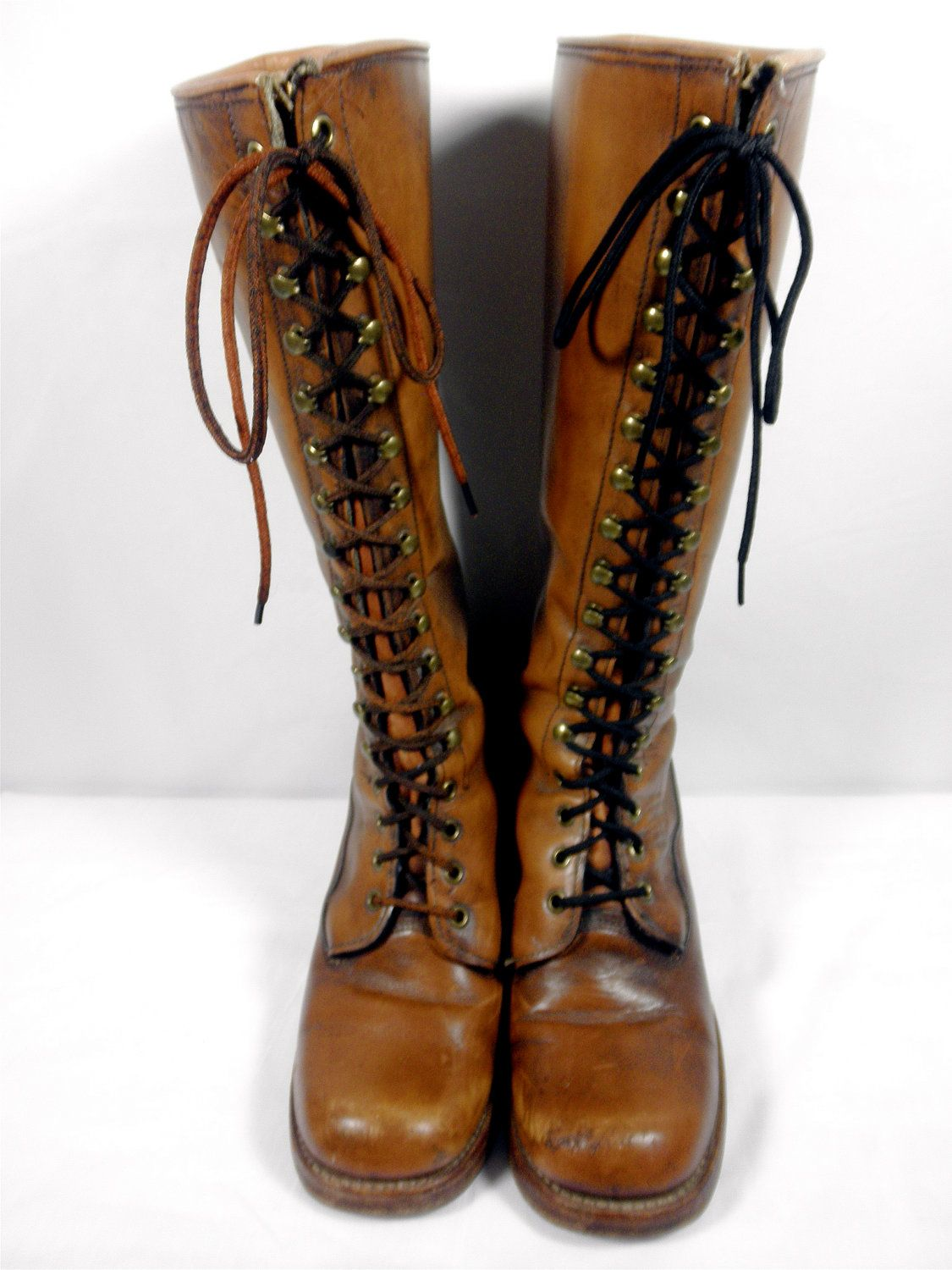 7d8e5f337 Vintage Black Label Frye Lace Up Campus Boot with Tall Stacked Leather Heel  - Women's Size 8 1/2 - 1970's Frye Boots. $250,00, via Etsy.