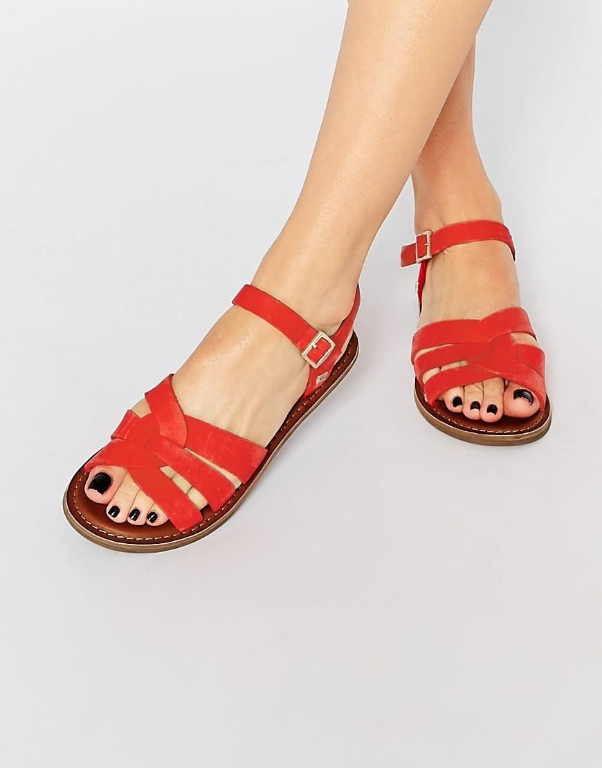 TOMS Zoe Red Leather Flat Sandals at