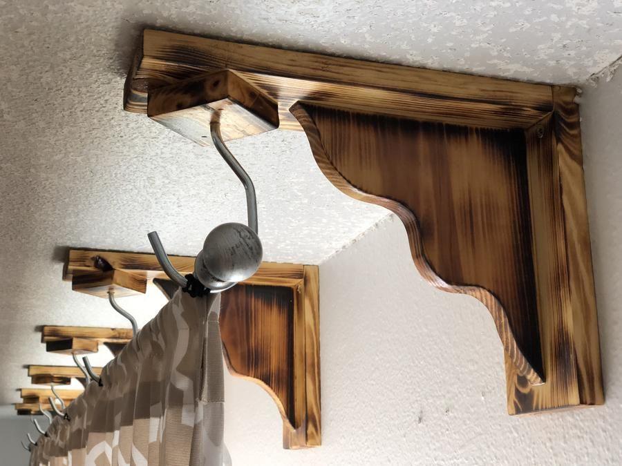 Curtain Rod Corbel In 2020 Corbels Curtain Rods Modern Rustic
