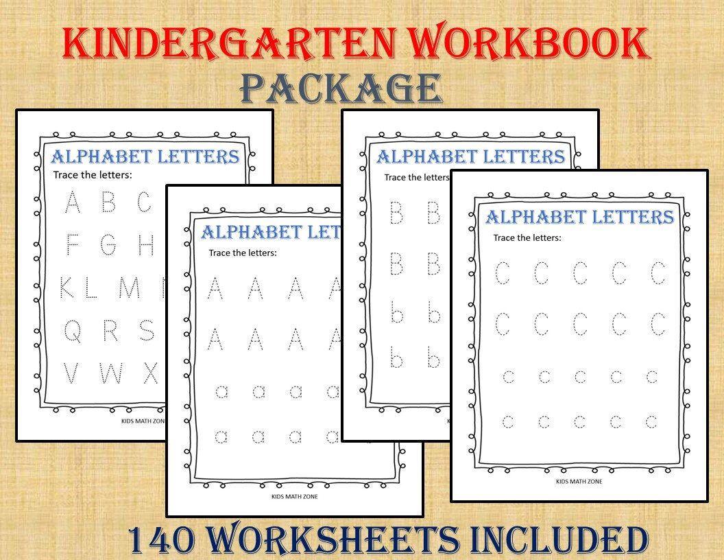 KINDERGARTEN WORKBOOK (140 Worksheets) Instant Download