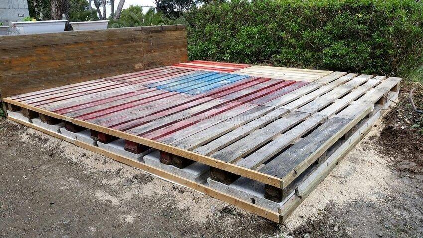 Diy Wood Pallet Garden Gazebo Deck With Furniture Pallet Decking