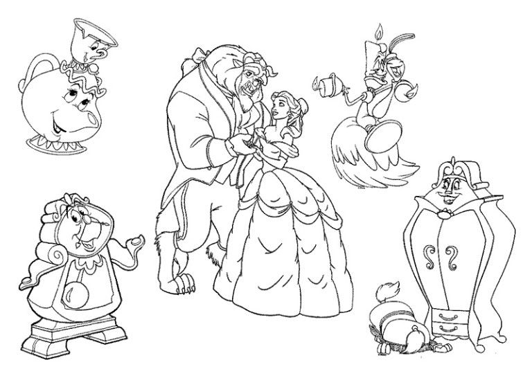 Beauty And The Beast Characters Coloring Pages Beauty And The Beast Drawing Disney Coloring Pages Beauty And The Beast Tattoo