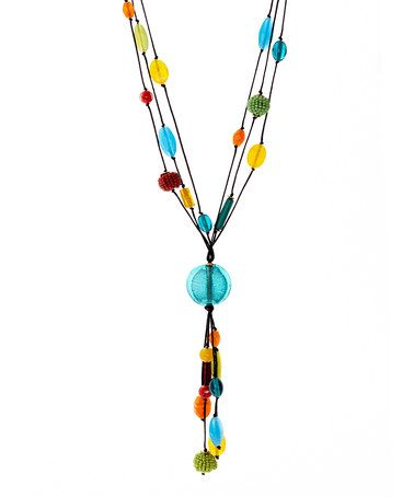 Look what I found on #zulily! Teal & Yellow Glass Pendant Necklace #zulilyfinds