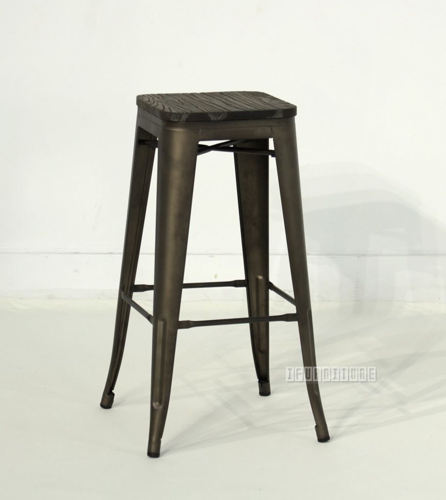 tolix replica bar stool h76 with rustic elm seat commercial cafe