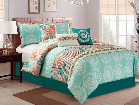 Six Piece Printed Floral Comforter Set-Blue and Grey-Twin Size 6