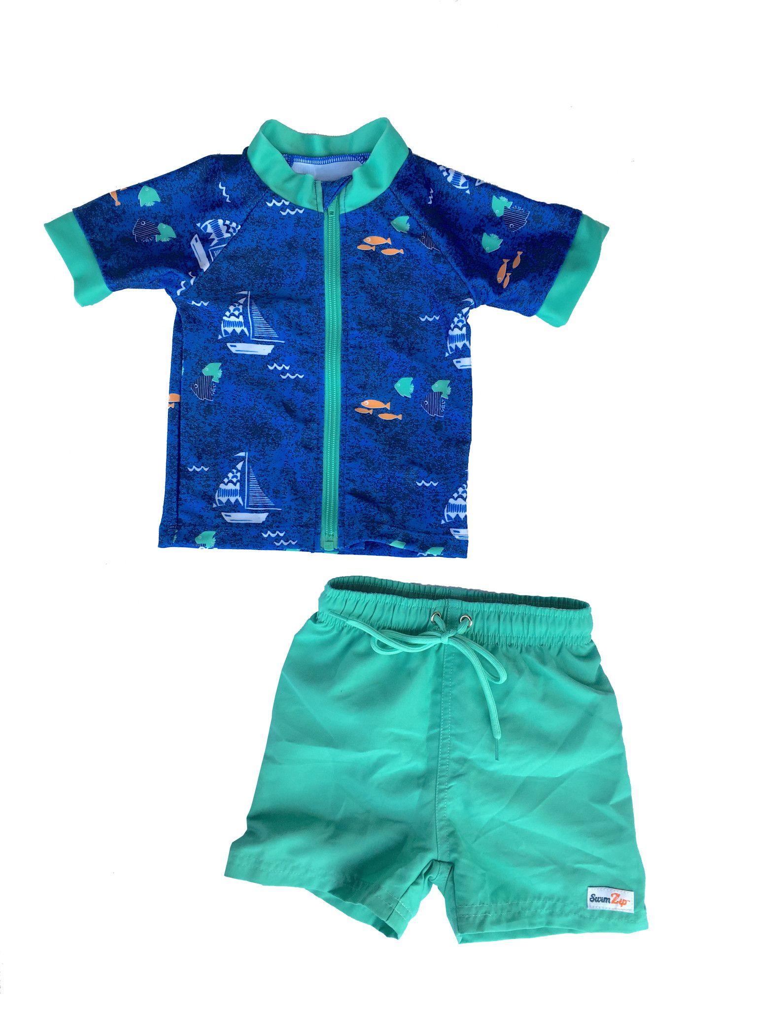 Shop Early Captain Kid Short Sleeve Rash Guard Swimsuit Set 2