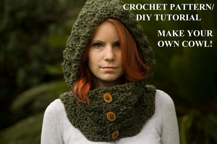 Hooded Cowl Wood Button Crochet Hooded Scarf Olive Green Needle