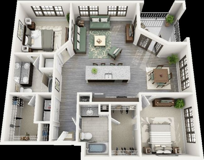 50 Plans 3D D'Appartement Avec 2 Chambres | Sims, House And Tiny Houses