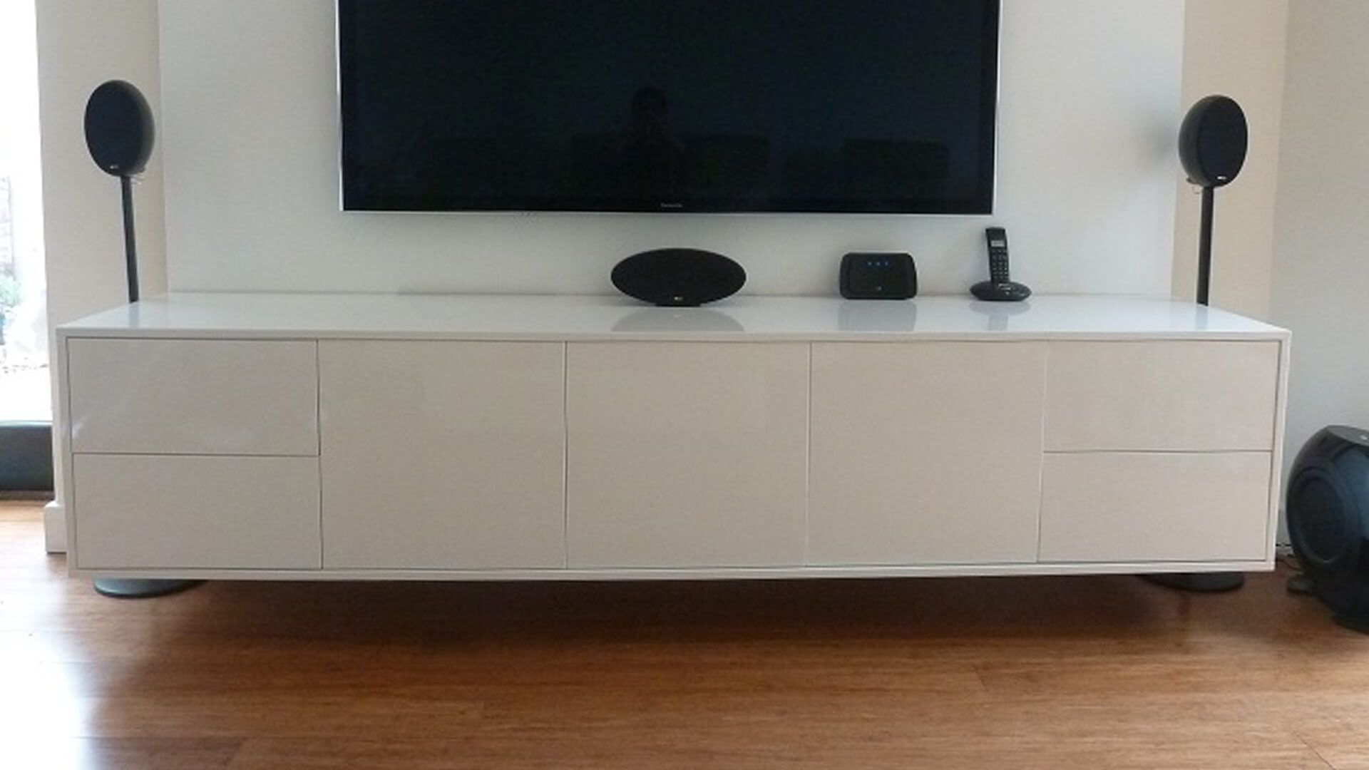 Wall Mounted Contemporary White Gloss Tv Unit This Floating Was Handmade In Britain By Av Soul Each Piece Of Furniture Is Custom Made To Order