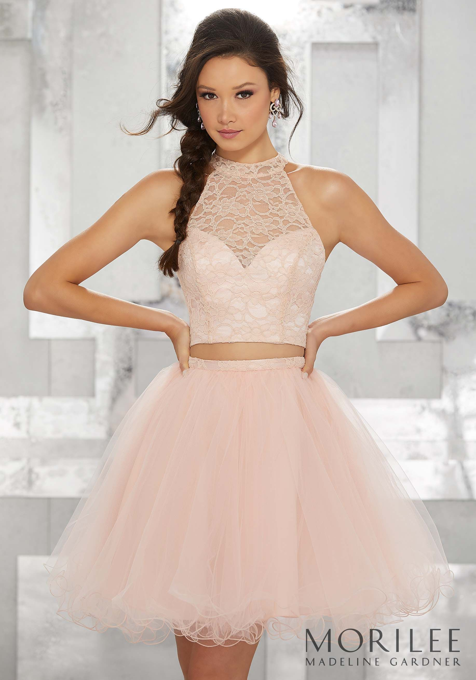 e22065a5db6 Blush Pink Two Piece Party Dress with High Halter Lace Bodice and Tulle  Skirt. Colors Available  Blush